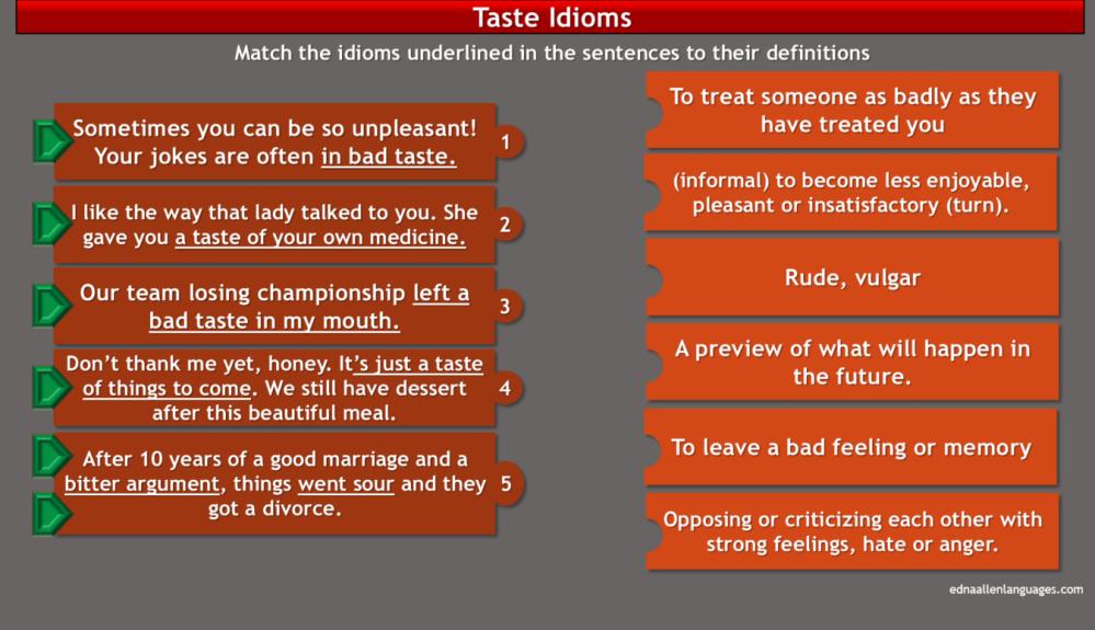 taste idioms