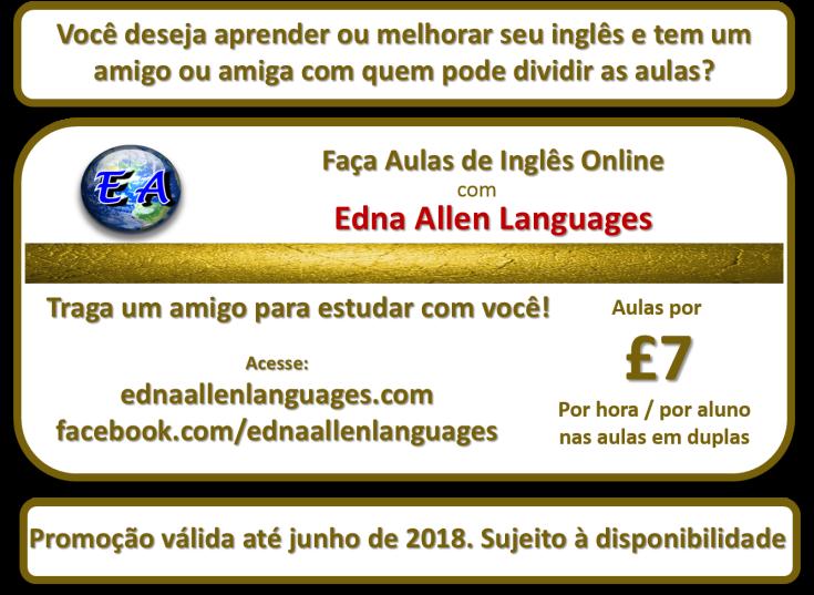a promoção aulas de portugues a 7 libras